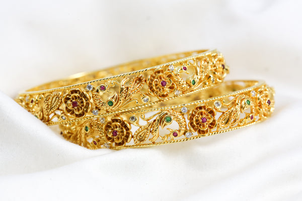 Ruby Emerald Peacock Bangle Set