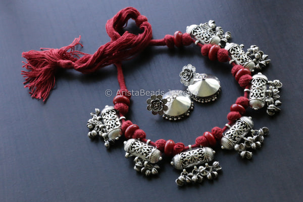 Oxidized Indian Tabeez Necklace - Red