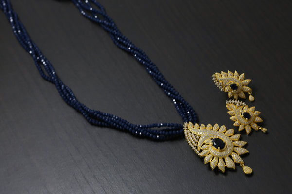 Blue CZ Beaded Necklace