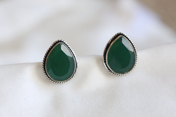 Green  Teardrop Stud