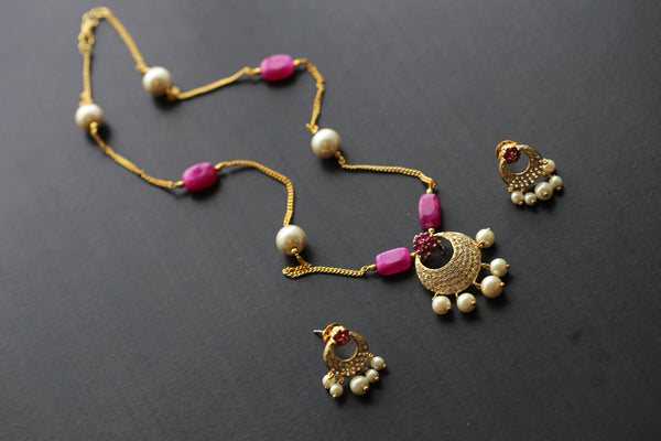 Delicate Polki Pendant Chain Necklace