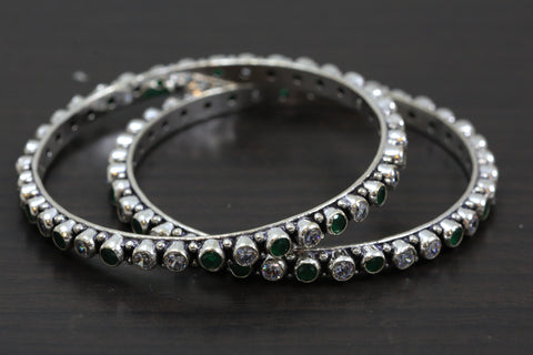Silver Oxidized CZ Bangles - Green White