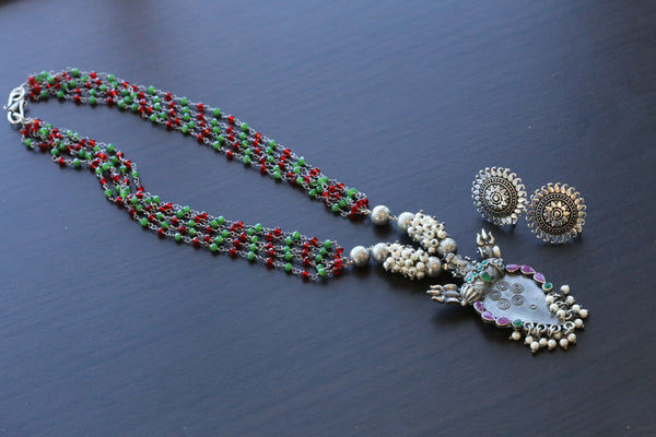 Multicolor Beaded Oxidized Tribal Necklace