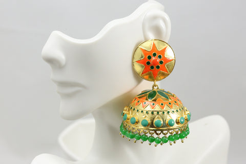 Large Enamel Jhumka - Green Orange