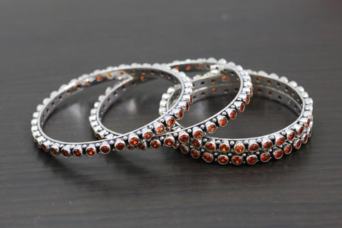 Silver Oxidized CZ Bangles - Orange
