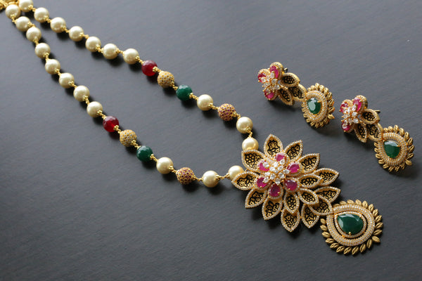 Matt Gold CZ Enamel Necklace Set