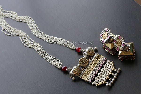 Dual Tone Ruby Necklace Layered Pearl Chains