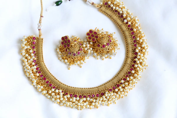 Antique Gold Ruby & Pearl Necklace