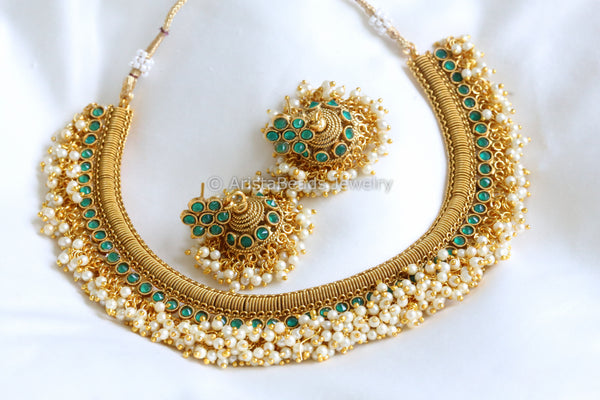 Antique Gold Emerald & Pearl Necklace
