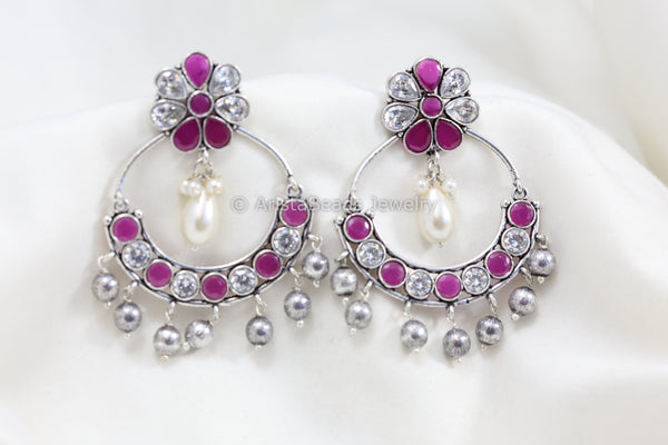 Ruby White Stone Chandbaali