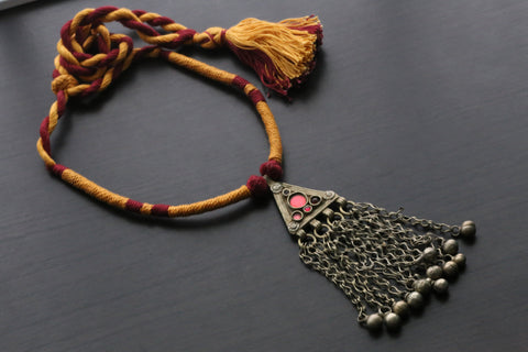Vintage Tribal Necklace - Red Yellow Tassel