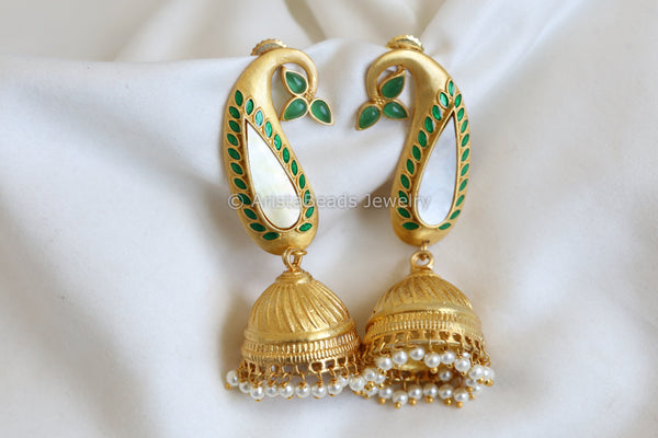 Matt Gold Shell Jhumka - Green Enamel