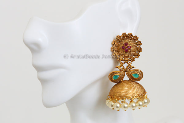 Emerald Ruby Peacock Jhumka