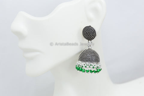 Small Green Oxidized Jhumka