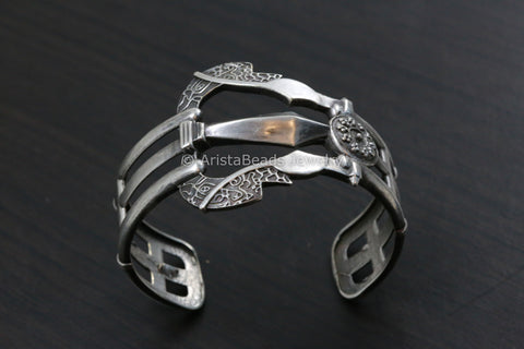 Trishul Silver Look Cuff - Adjustable