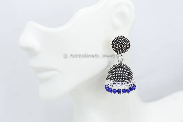 Small Blue Oxidized Jhumka
