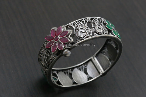 Ruby & Green CZ Silver Look Bangle