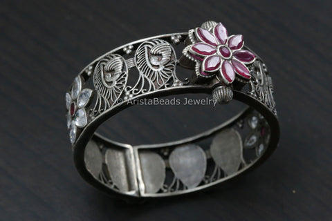 Ruby & Clear CZ Silver Look Bangle