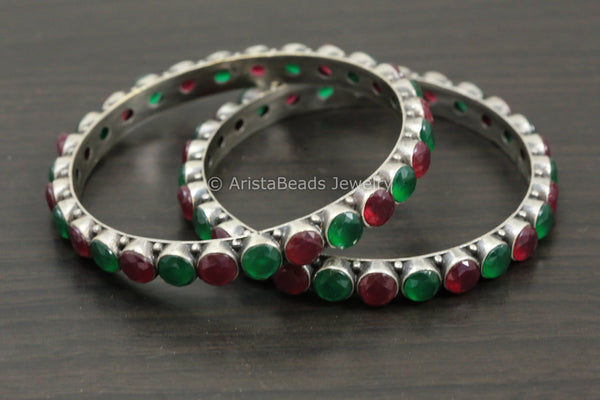 Silver Oxidized Red Green CZ Bangle Pair (2.8)