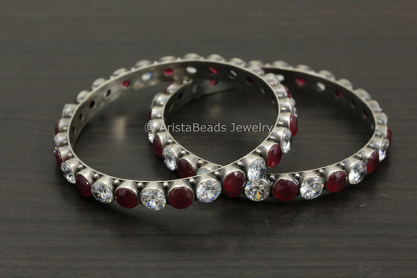 Silver Oxidized Red Clear CZ Bangle Pair (2.8)