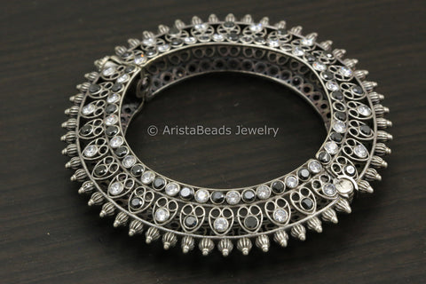 Designer Black Clear CZ Openable Kada