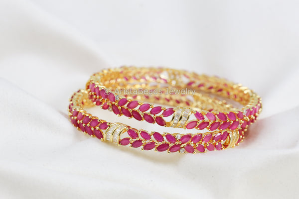 Ruby & Clear Polki  Bangle Set (Set of 2)
