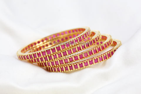 Ruby Uncut Bangle Set (Set of 4)