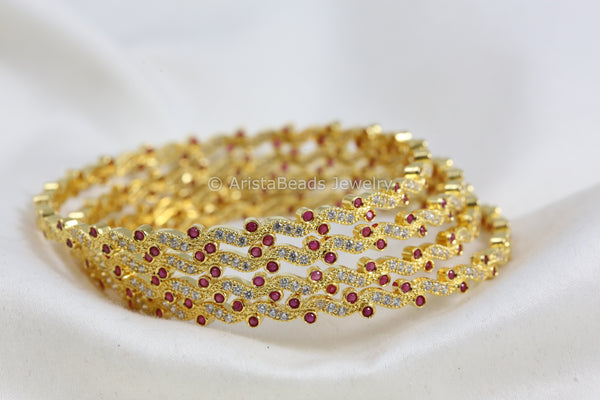 Delicate Ruby Polki Bangle Set  (Set of 4)