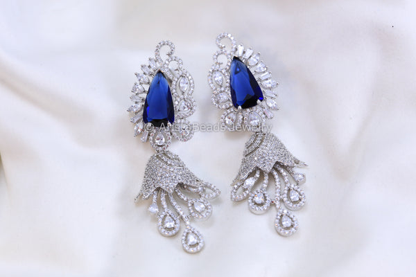 Contemporary Silver Finish Blue Earrings