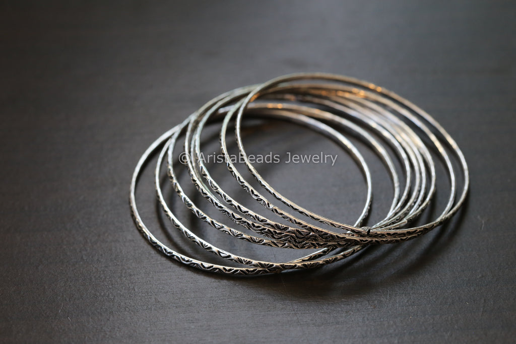 Oxidized Metal Bangle Set