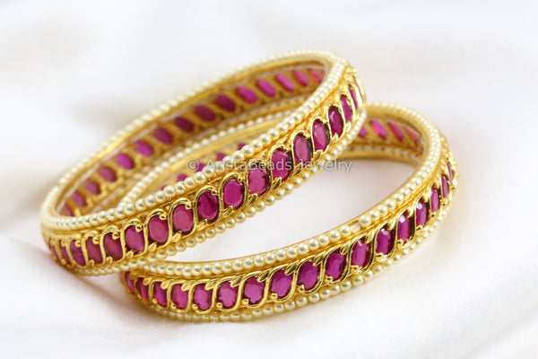 Gold Look Ruby Pearl Bangle