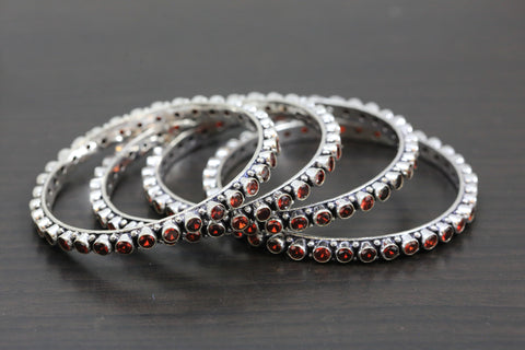 Silver Oxidized CZ Bangles -Red