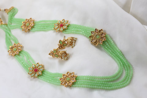 Polki Mala Necklace Set - Pista Green