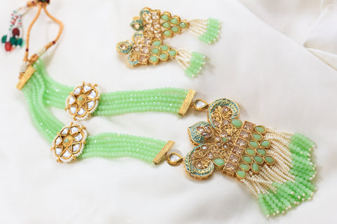 Enamel Mala Necklace Set - Pista Green