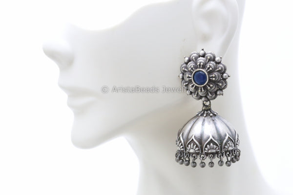 Blue Flower Silver Plated Jhumka