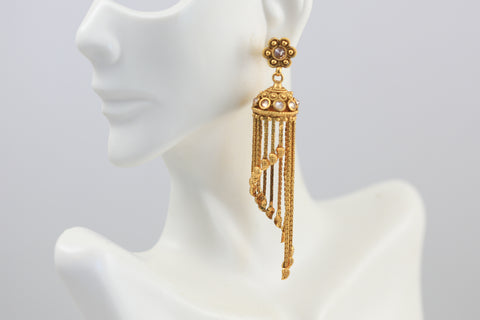 Polki Tassel Jhumka Earrings