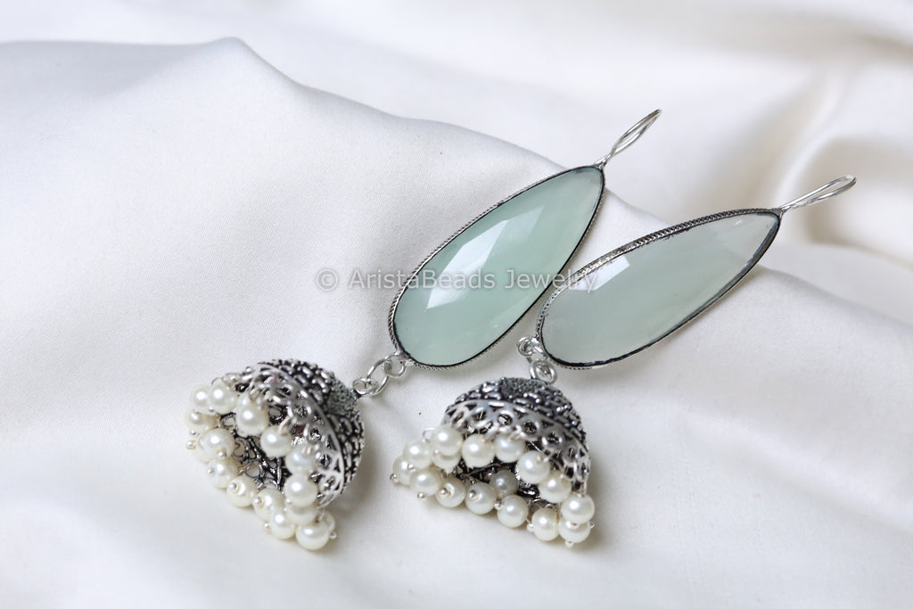 Pearl and Light Blue Stone Jhumka