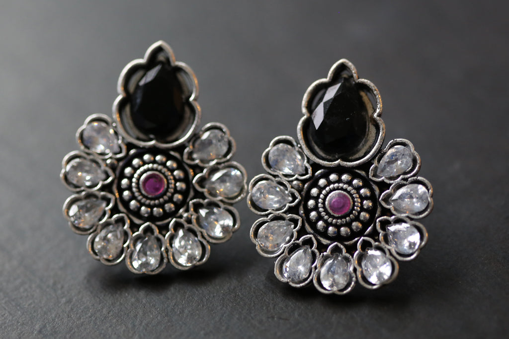 Polki Stud Earring - Black & Clear Polki