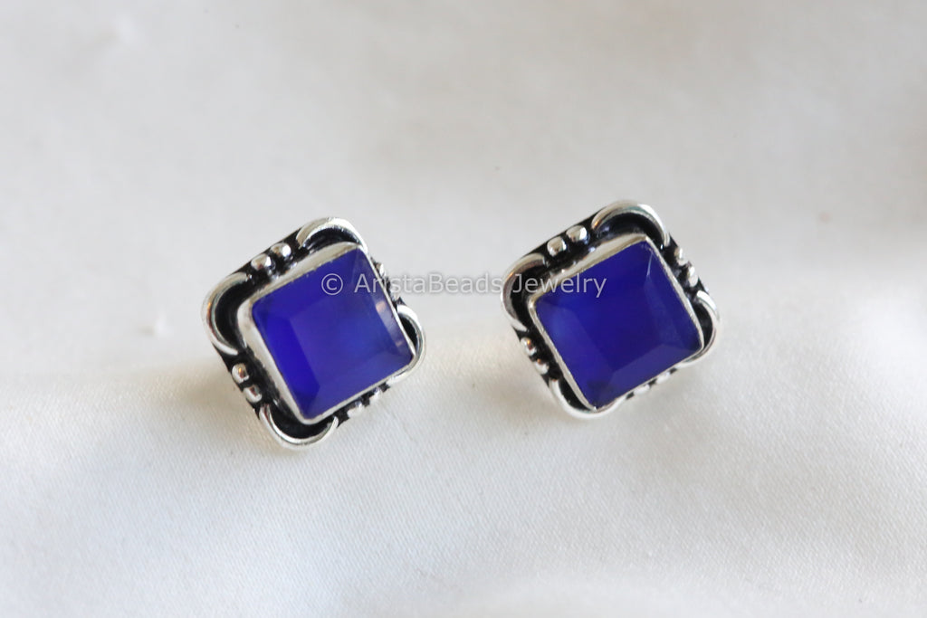 Blue Square Stud