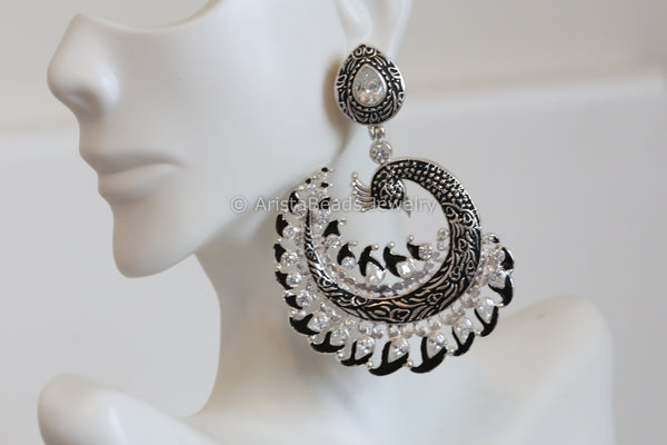 Black & White Large peacock chandbaali