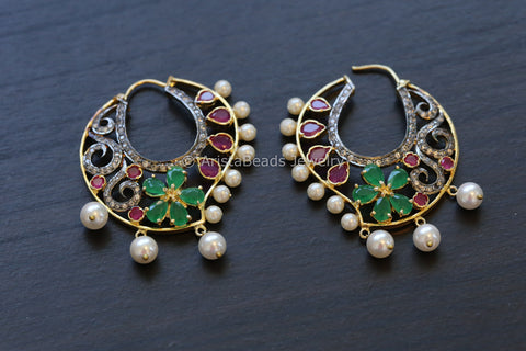 Victorian Ruby Green CZ Hoops