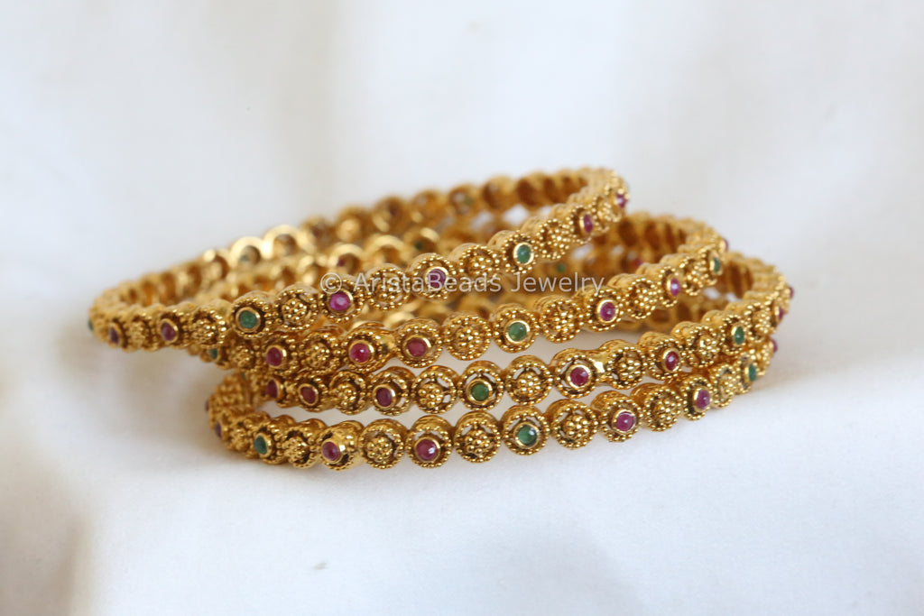 Antique Emerald Ruby Bangle
