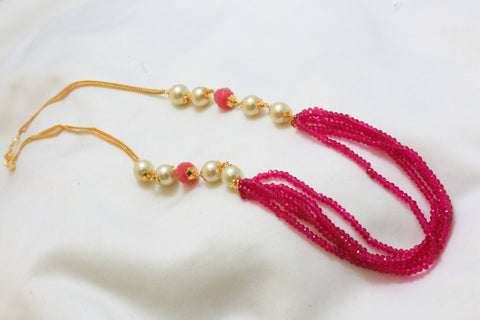 Delicate Layered Magenta Indian Necklace - AristaBeads Jewelry - 1