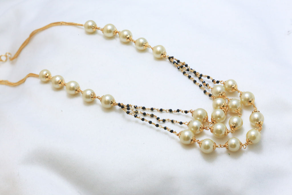 Layered Pearl & Black Bead Indian Necklace - AristaBeads Jewelry - 1