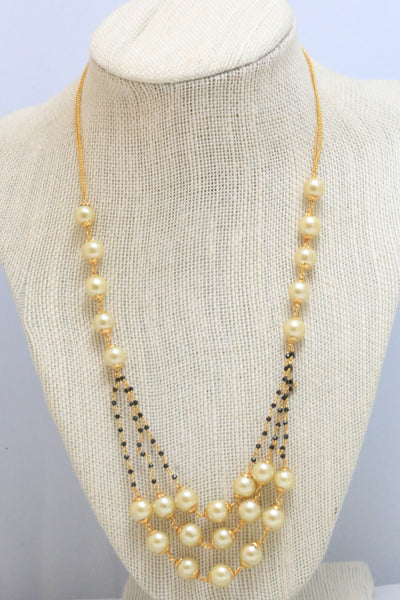 Layered Pearl & Black Bead Indian Necklace - AristaBeads Jewelry - 2