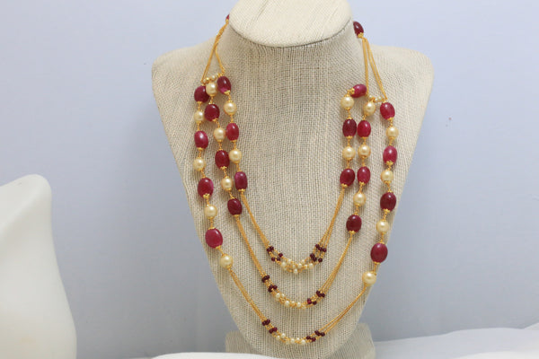Ruby 3 Line Chain Necklace - AristaBeads Jewelry - 3