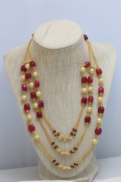 Ruby 3 Line Chain Necklace - AristaBeads Jewelry - 4