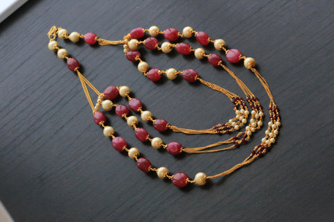 Ruby 3 Line Chain Necklace - AristaBeads Jewelry - 1