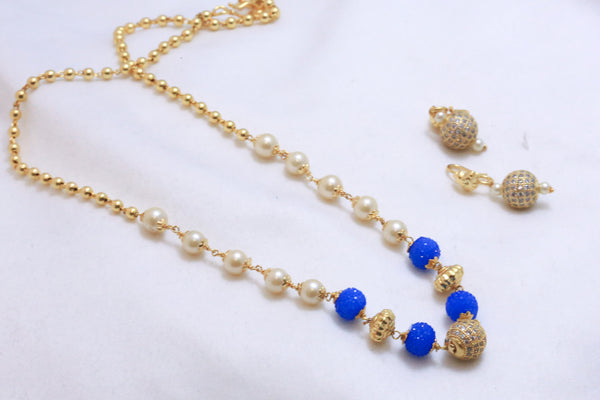 Delicate CZ Ball Indian Necklace - Blue - AristaBeads Jewelry - 1