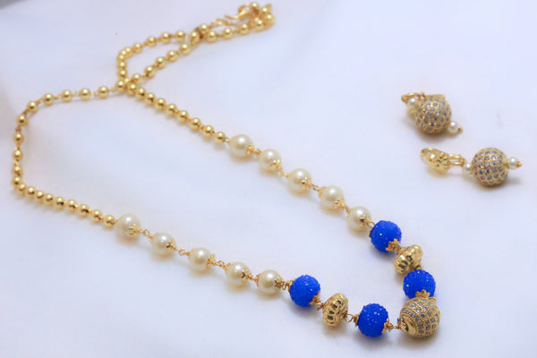 Delicate CZ Ball Indian Necklace - Blue - AristaBeads Jewelry - 2